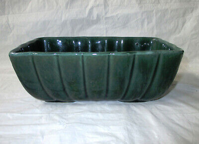 """rectangular Planter 8.5"""" Hull Imperial F42 Green Ribbed Garden Dish With Traditional Methods"""