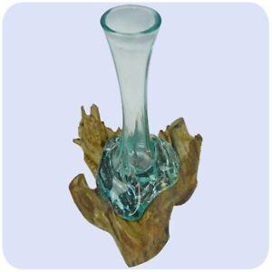 Détails Sur Bois De Racine Vase En Verre Teck Idée Cadeau Décoration Carafe