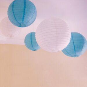 Image Is Loading 9x 30cm Blue White Paper Lanterns Bulbs Birthday