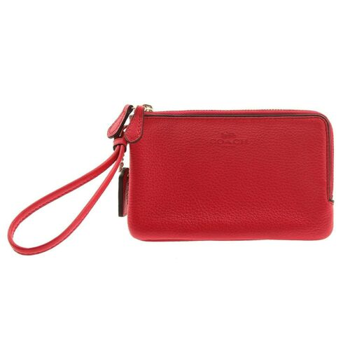 NWT COACH Pebble Leather Double Corner Zipper Wristlet Wallet Red Pink F66505