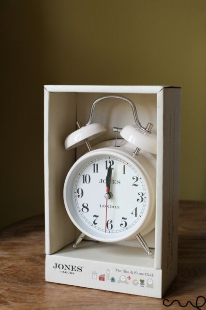 NIB Jones Cream Covent Garden Medium Desk Alarm Clock Twin Bell Arabic Gift VAT
