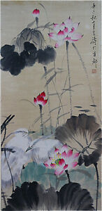 Excellent-Chinese-100-Hand-Painting-amp-Scroll-Lotus-amp-Birds-By-Wang-Xuetao