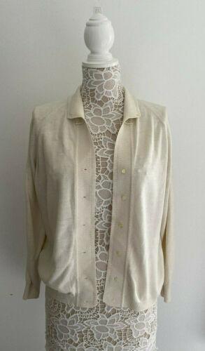 Vintage Chalom Ivory Cardigan Sweater sz 42 Made i