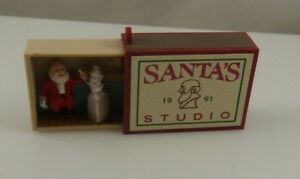 Hallmark-keepsake-Santa-039-s-Studio-matchbox-match-box-Christmas-ornament-xmas-1991