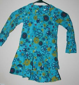 687c2f308 EUC Le Top long sleeve Girls DRESS blue lime green floral flowers ...