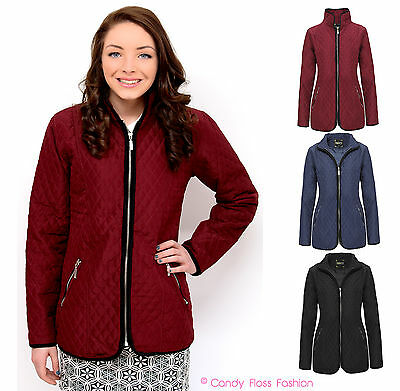 CLEARANCE NEW LADIES PADDED ZIP QUILTED JACKET WOMENS COAT TOP