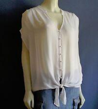 Joie NEW Baxter Porcelain Ivory 100% Silk Tie Front Blouson Shirt Top Sz L