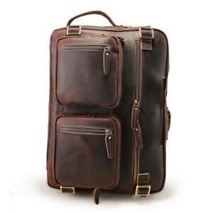 Hommes-Vintage-en-cuir-Sac-a-dos-ordinateur-portable-16-034-Mallette-de-Voyage-Randonnee-Sac-epaule