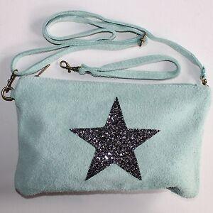 525cd08de8602 Das Bild wird geladen Clutch-Abendtasche-Schultertasche-Leder-Umhaenge- Tasche-Handtasche-Stern-