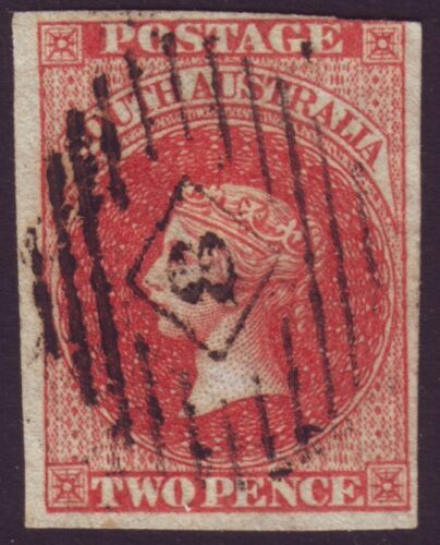 SOUTH AUSTRALIA 2d RED QV IMPERF ASC 2 4 MARGINS FU RETAIL $150+ A1930