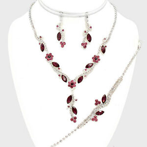 3PECES PURPLE PETAL CRYSTAL BRIDAL/PROM NECKLACE , B, EARRING SETS4 d
