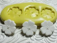 Silicone Resin Polymer Clay Fondant Flexible Push Mold Flower Trio 599
