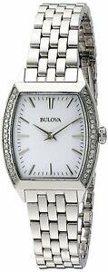 Bulova Women's Quartz Silver-Tone Crystal Accents Tonneau 26mm Watch 96R196