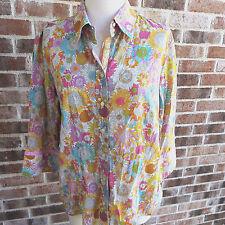 Robert Graham Ladies Button Front Shirt Sz. XL L Sunflowers Floral Flip Cuff