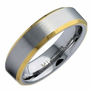 White Tungsten Carbide 6mm Brushed Band Gold Plated Edges Ring