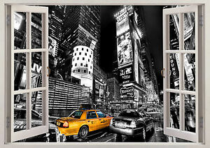 Poster New York Taxi.Skyscraper Skyline Tower New York Taxi 3d Effect Wall View Sticker