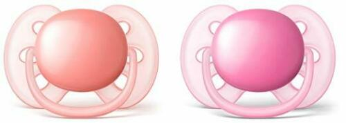 Philips Avent Ultra Soft Pacifier 2 Pack Pink//Peach 6-18 Months