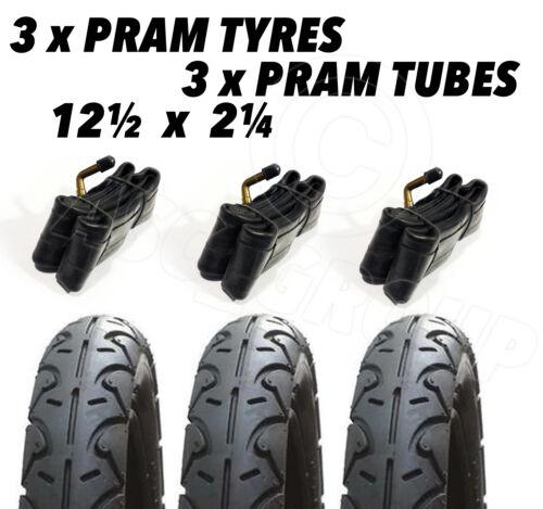 3 x Pram Tyres /& 3x Tubes 12 1//2 X 2 1//4 Slick Buggy Pram Stroller Pushchair