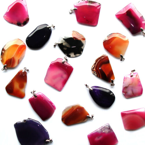 Agate Slice Pendant Polished Free Form Dyed Crystal Charm Silver Reiki Healing