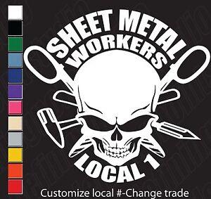 Union Skull Sheet Metal Workers Tinners Customizable Vinyl