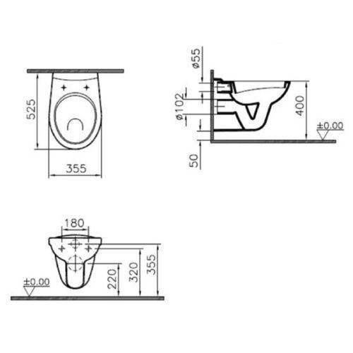 WC-Sitz mit Deckel Vitra Norm Wandflachspül-WC 525 mm 5091L003-1028 inkl