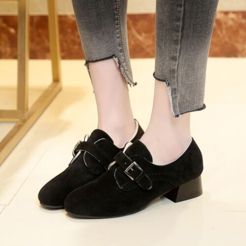 WOmen/'s Low Chunky Heels ROund toe Oxfords Suede Leather Buckle Pumps SHoes