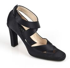 GUCCI Tom Ford Black Satin Ballet Ribbon Cross Wrap Heels Pumps Shoes 7 1/2 B