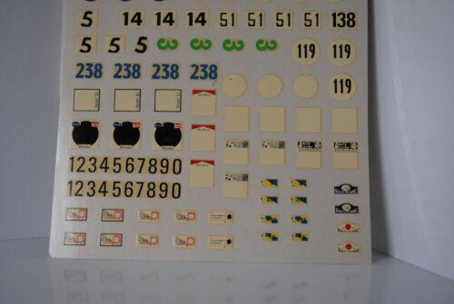 SOLIDO FRANCE PLANCHE DE DECALCOMANIES POUR AUTOMOBILES DE COURSE ET RALLYE 1//43