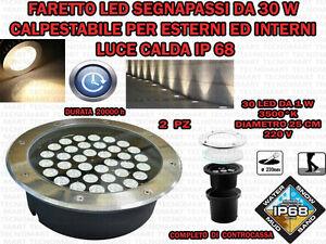 2-FARI-INCASSO-LED-30W-ESTERNO-LUCE-CALDA-SEGNAPASSO-CALPESTABILE-IP-68-GIARDINO