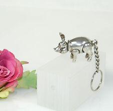 Sterling Silber 925 Schlüsselanhänger Key Chain bewegliches Schwein Piggy Kessel