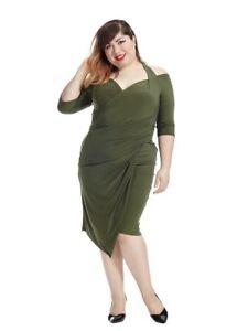 Details about new Kiyonna lane bryant Plus Size Foxfire Wrap Dress 14 16 1X  in olive