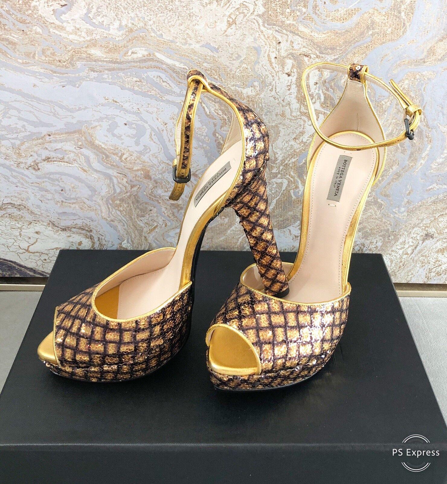 Bottega Veneta Veneta Veneta Sequin Gold Platform Sandals Sz 38 f9e571