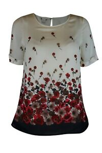 Women-Ladies-Chiffon-Layer-Ivory-Mix-Poppy-Floral-Print-Short-Sleeve-Lined-Top