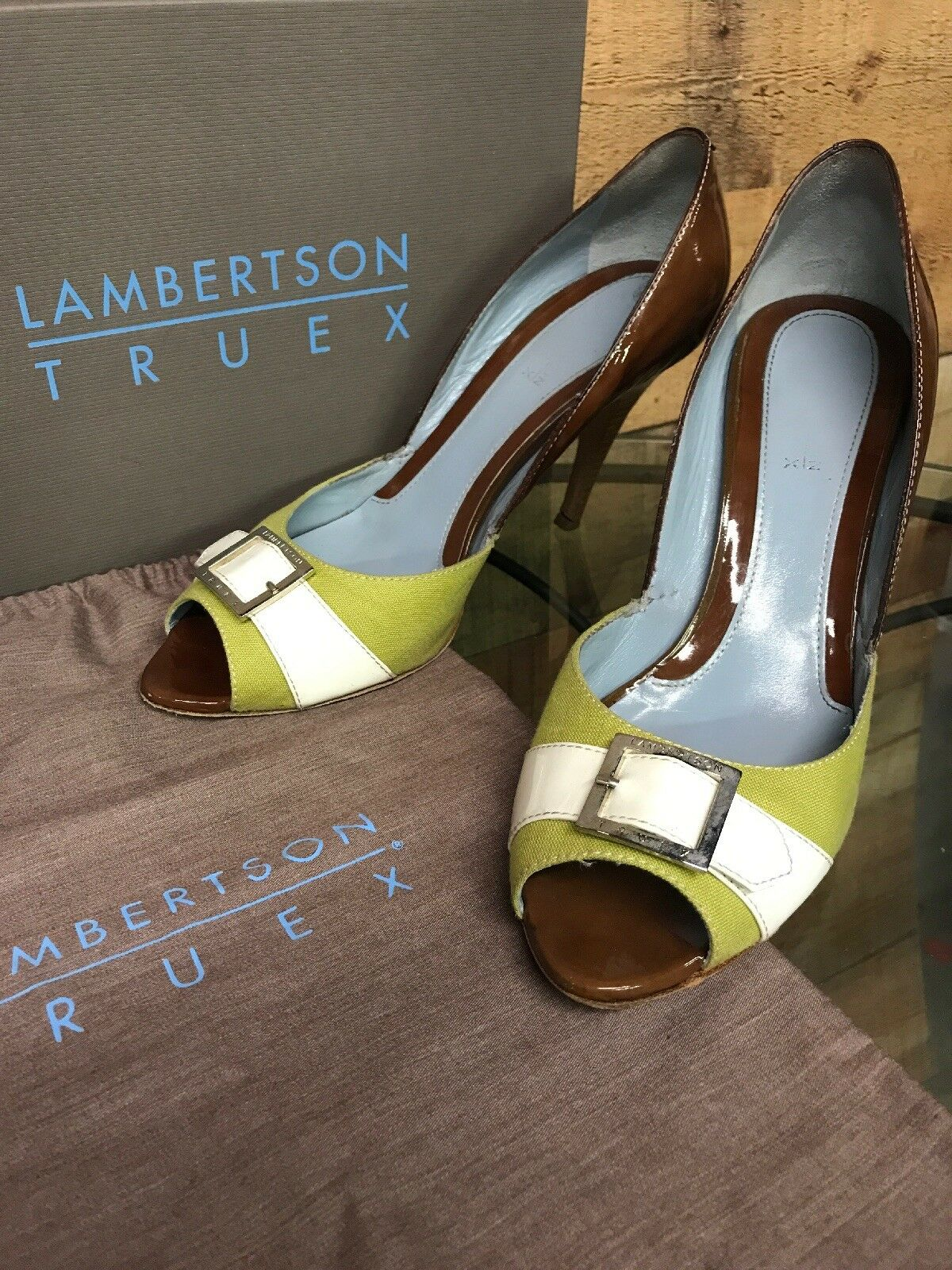 Lambertson Truex Carlota PU Leather Buckle Up Open Toe Toe Toe Pumps Heels Size US 10 61195a