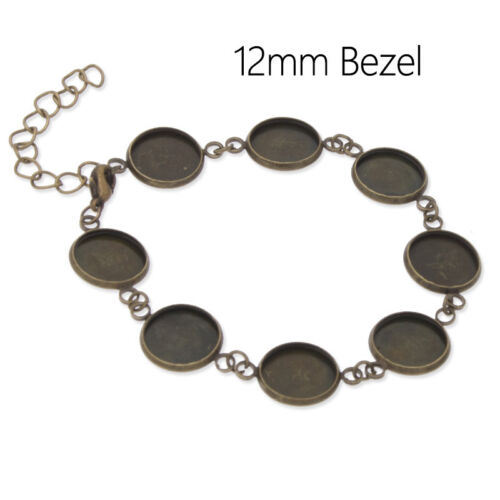 5Pcs 12MM Round Blank Setting Bezel Base Cabochon Pad Bracelet