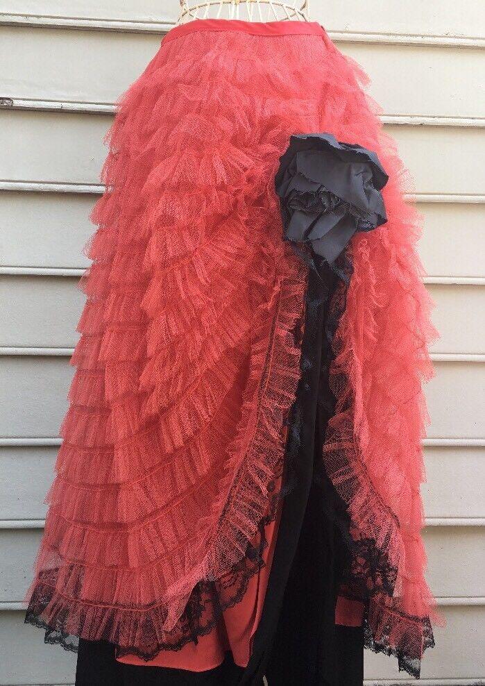 Vintage Tulle Frills Tutu Skirt With Flower Side Detail