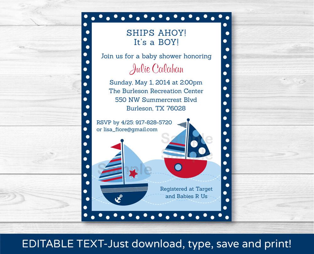 Nautical Sailboat Printable Birthday Invitation Editable PDF