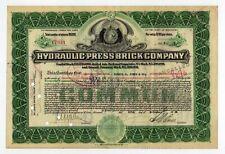Hydraulic Press Brick Company 2 Color Stock Certificate Set Missouri H W Eliot