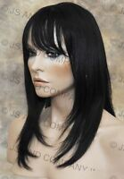 100% Human Hair Black Wig Bangs Fringe Crimped Texture Molac 1
