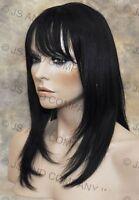 100% Human Hair Black Wig Bangs Fringe Crimped Texture Molac 1