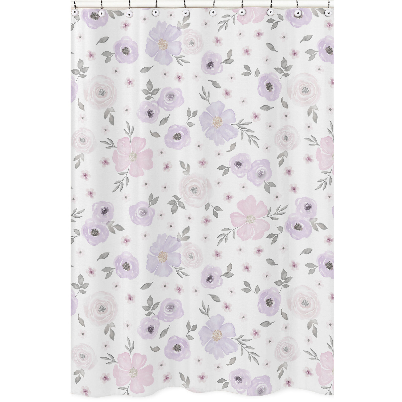 Lavender Purple Pink Grey Sweet Jojo Fabric Shower Curtain For Watercolor Floral