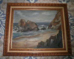 VINTAGE-CALIFORNIA-PLEIN-AIR-IMPRESSIONISM-COASTAL-SEASCAPE-OIL-PAINTING-c-1957