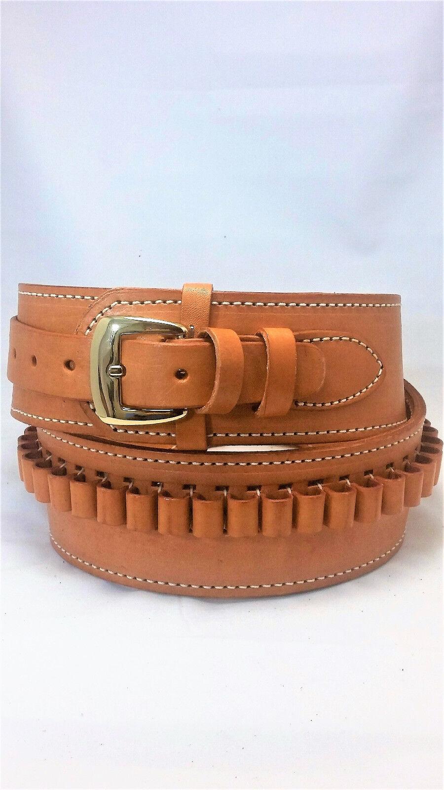 Natural, 38  - 43  Hip Size (40), Leather .22cal Cartridge - Gun Belt, 2 1 2