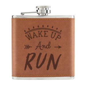 Wake-Up-Et-Run-Chemin-170ml-Cuir-PU-Hip-Flasque-Fauve-Course-Marathon-Drole