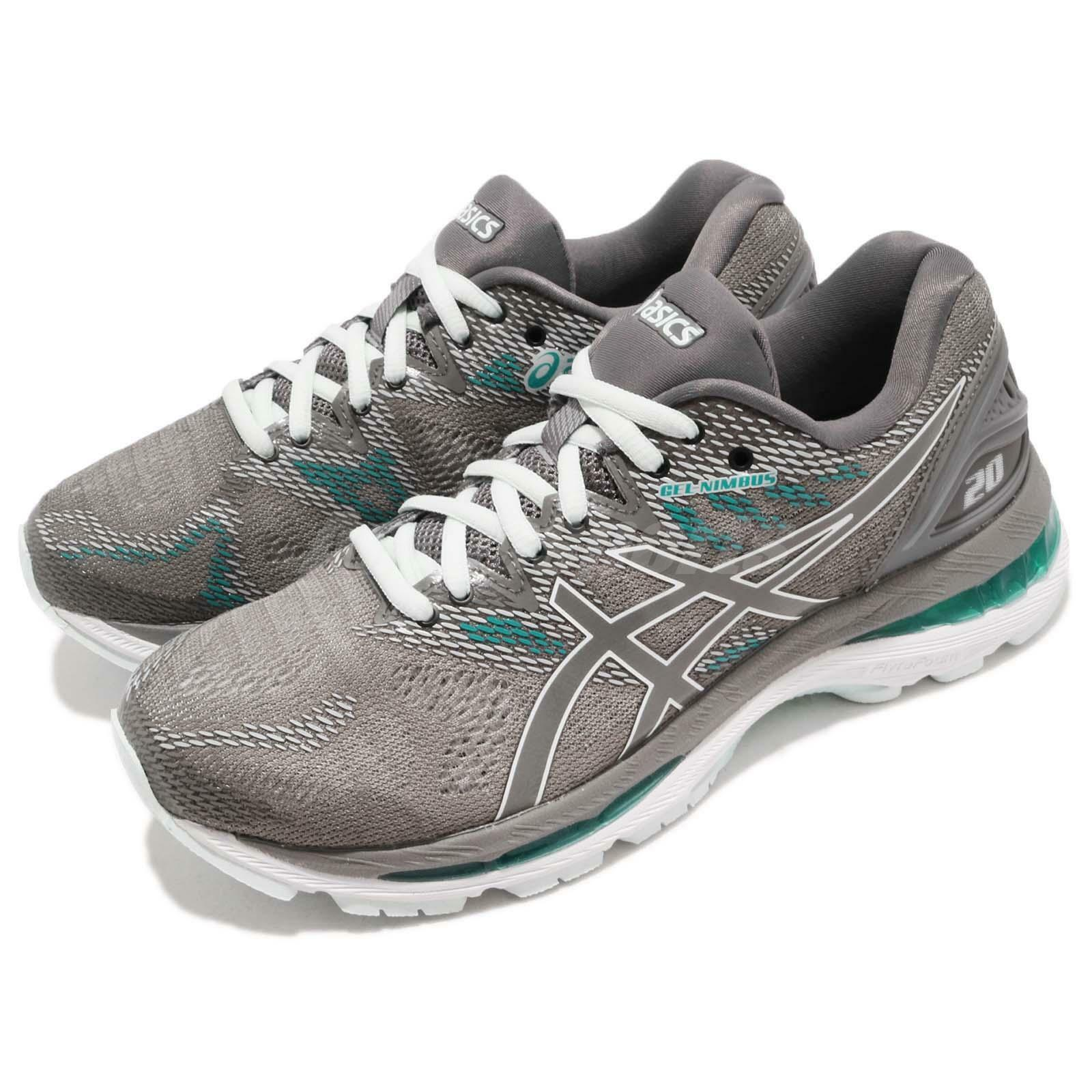 Asics Gel-Nimbus 20 Running D Wide Carbon Grey Green Womens Running 20 Shoes T851N-020 55e284