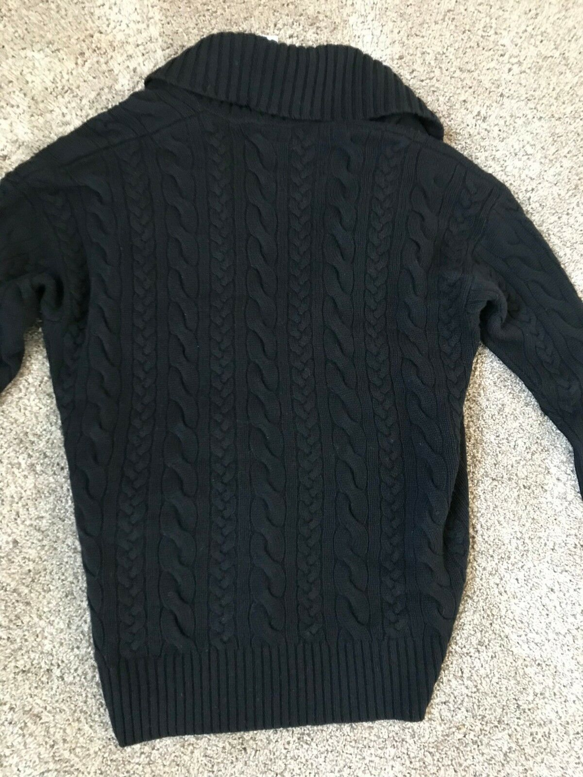 a5d9b6477e Polo Ralph Lauren Womens WOOL Cable Knit Cardigan Sweater Jacket Black $265  S-L