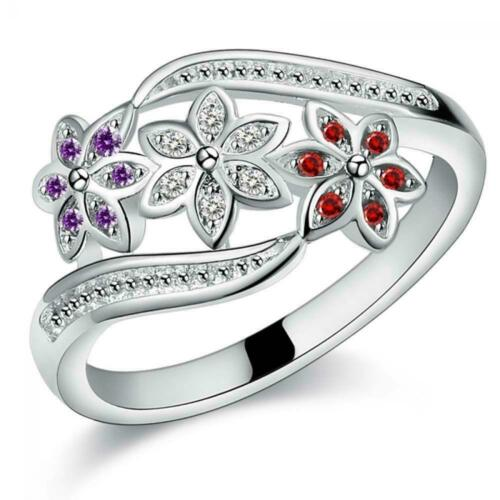 jewelry Wedding Colored  Couple Silver Plated diamonds finger Ring Zircon