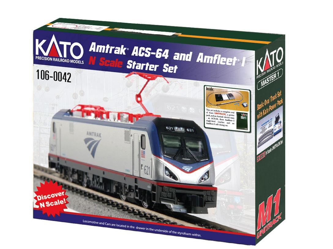 Kato 106-0042 - Startset Amtrak acs-64 Amfleet I-Spur N-NUOVO