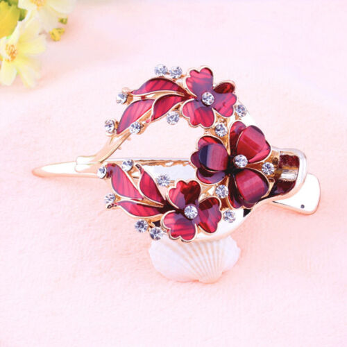 Lady Strong Holding Flower Hair Clip Zircon Hairpin Clamp Hair Jewelry