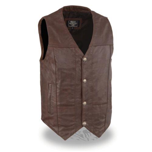 Milwaukee Leather Men/'s Western Style Plain Side Vest W// Buffalo Snaps **LKM3702